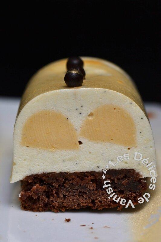 bûchettes vanille, inserts crémeux caramel, brownie au chocolat