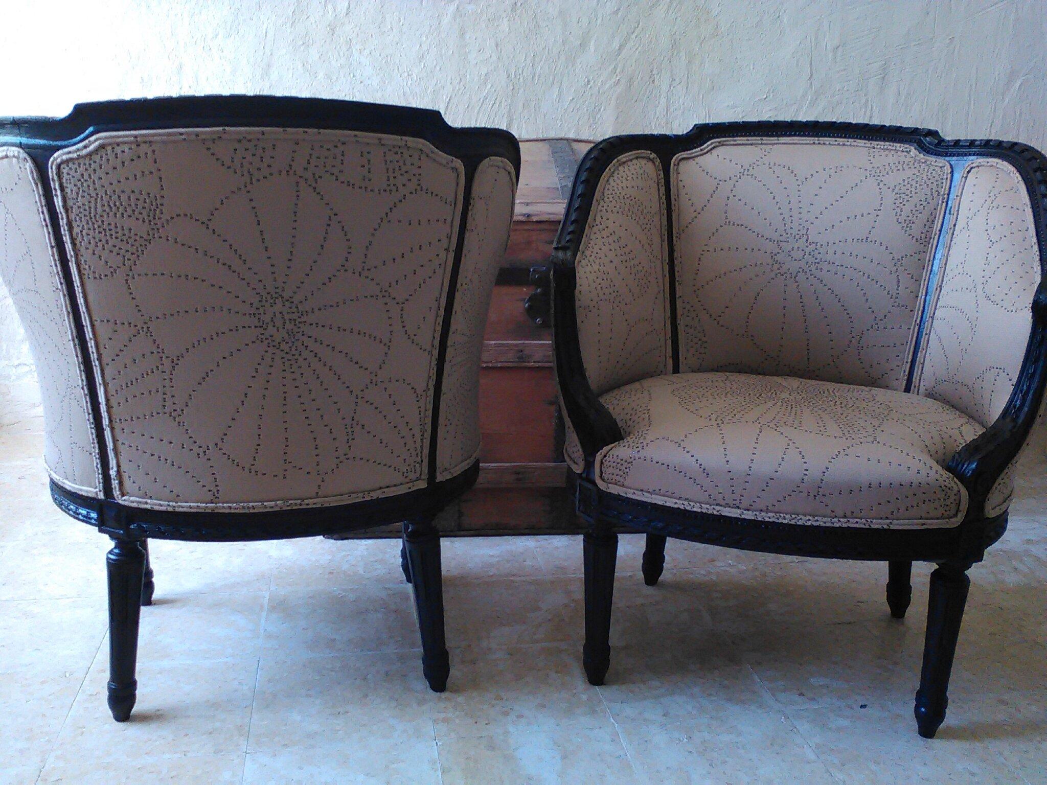 paire fauteuils gondols Louis XVI