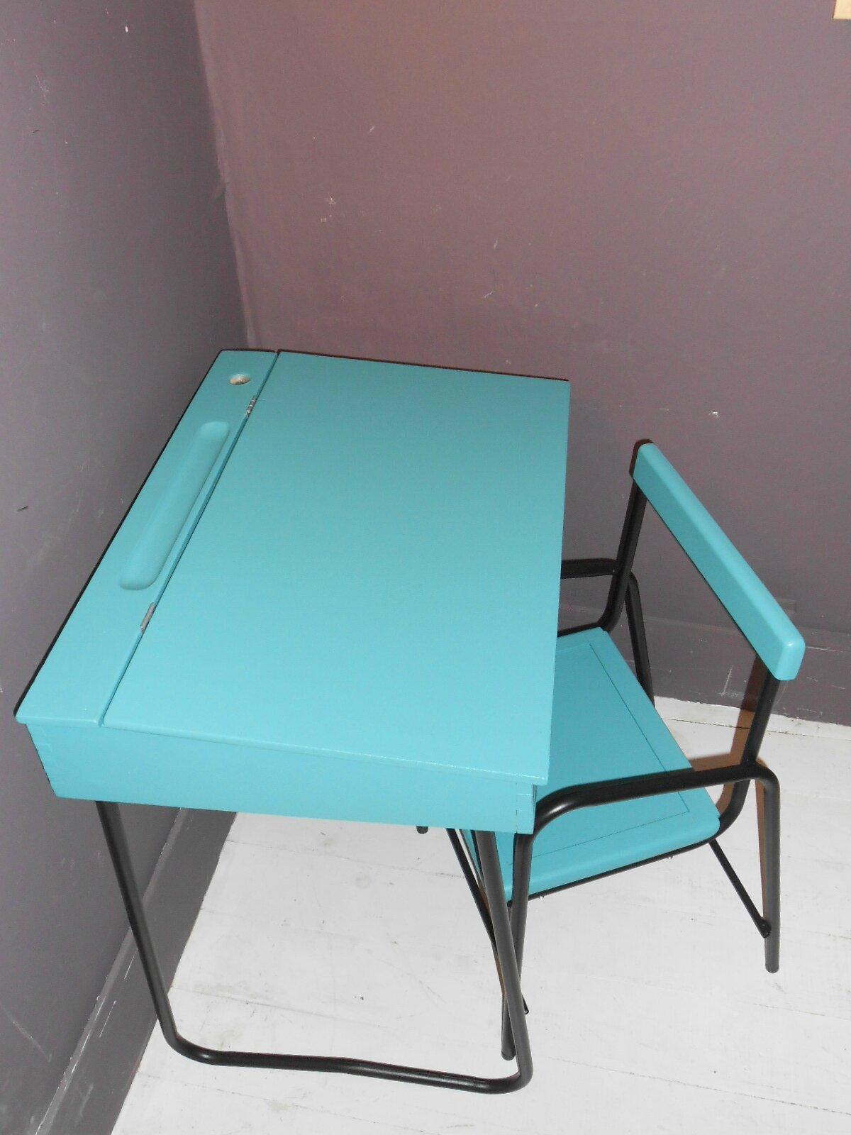 Ensemble bureau chaise annee 50 les p 39 tits bobos for Largeur chaise
