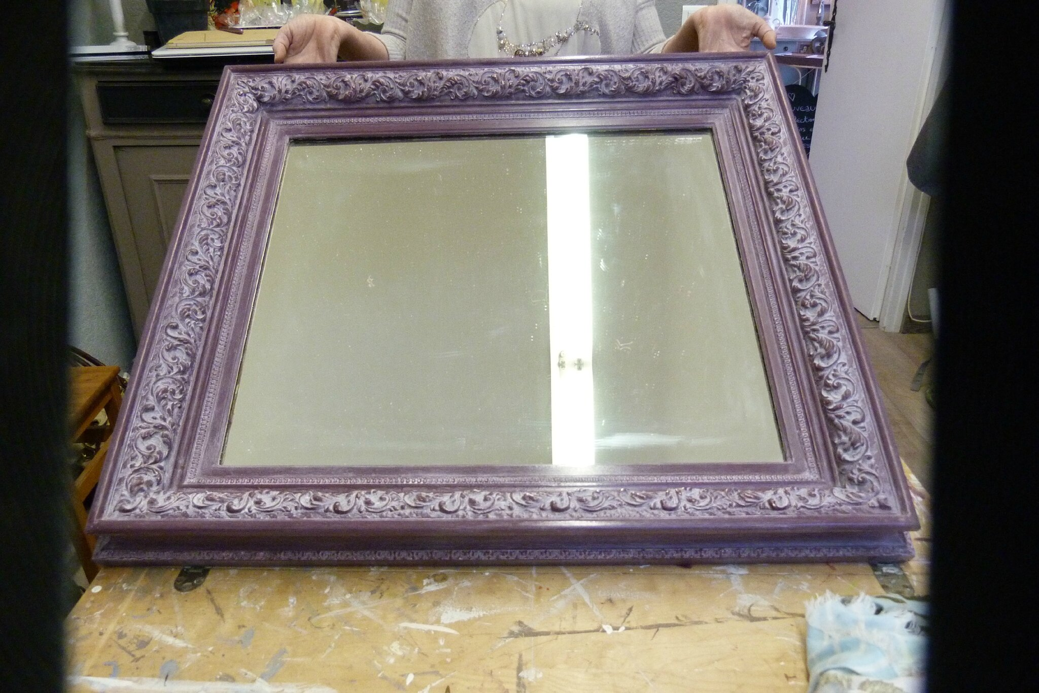 Stage relooker un miroir dor by brigitte decor 39 in for Vieillir miroir