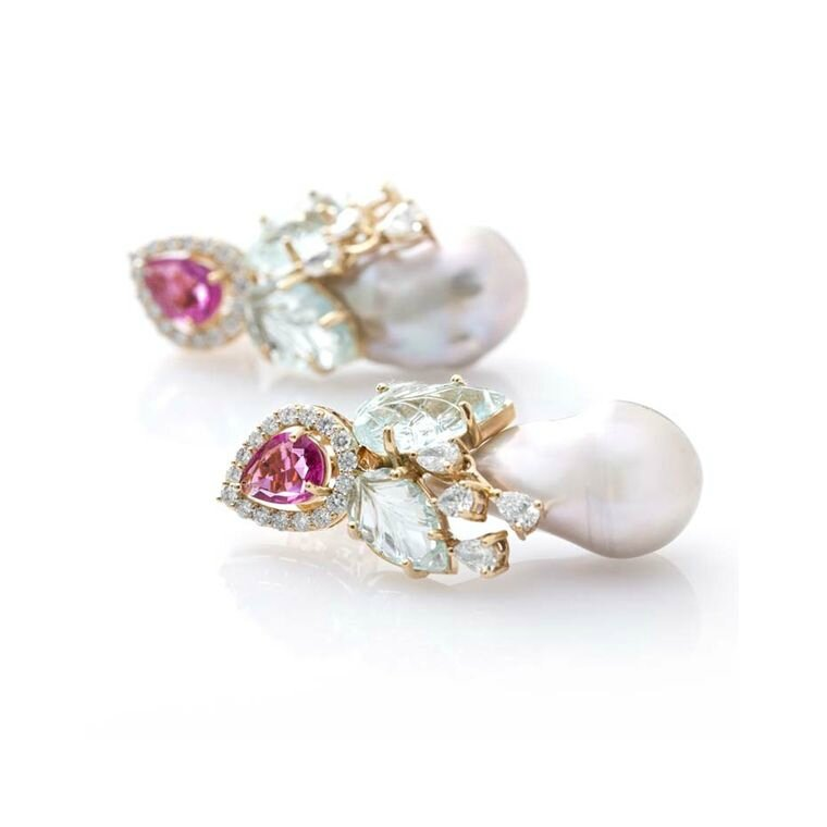 Fahra Khan_Le Jardin Exotique_Baroque pearl earrings in 18ct yellow gold with rubellite carved leaf aquamarines and diamonds by Farah Khan jewelle
