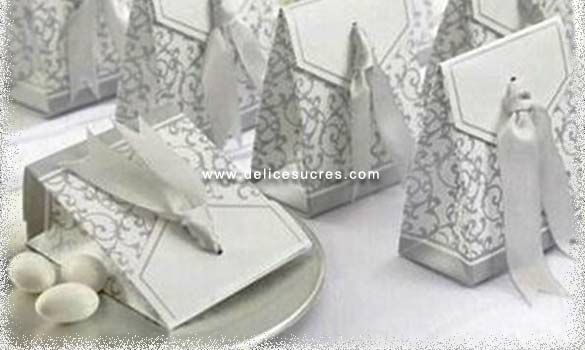 contenant a dragee boite a ruban argent ribbon - Boites Gateaux Orientaux Pour Mariage