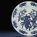An important and extremely rare early Ming massive blue and white charger. Xuande six-character mark and of the period (1426-143