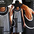 Tendance arty de la saison mode automne hiver 2016-2015 : la robe patchwork graphique en noir & blanc chic.