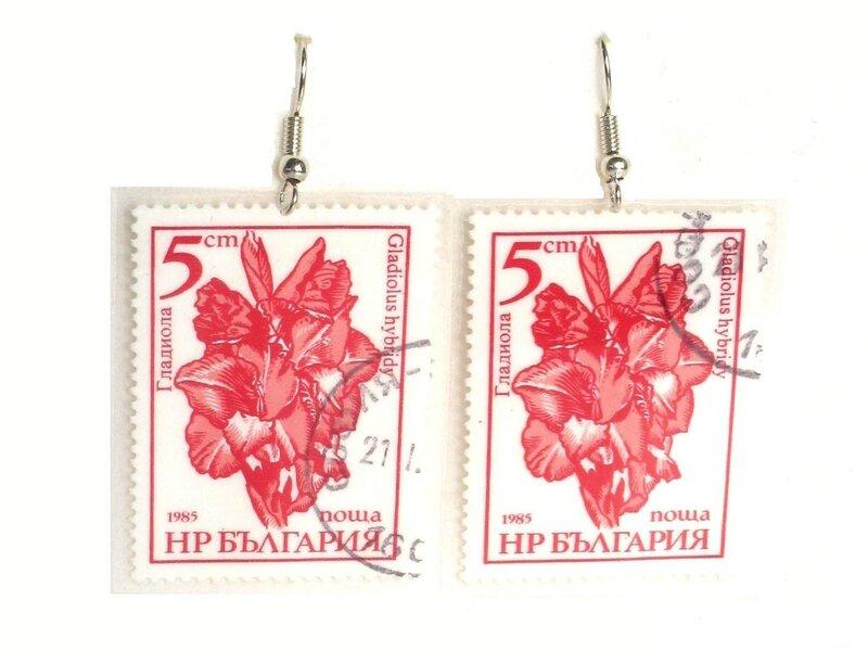 boucles d'oreilles timbres fleurs rouges2