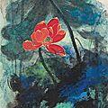 Zhang daqian (1899-1983), red lotus, 1975