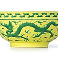 A fine yellow-ground green-enamelled 'Dragon' bowl, Mark and period of Yongzheng