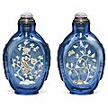 A rare embellished blue glass snuff bottle, probably palace workshops, beijing, 1780-1850