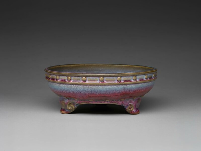 Circular Basin with Drum-Nail Decor and Three Cloud Scroll Feet, Ming dynasty, 1368-1644, probably 15th century
