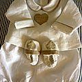 Brassière et chaussons - lin - 3 mois