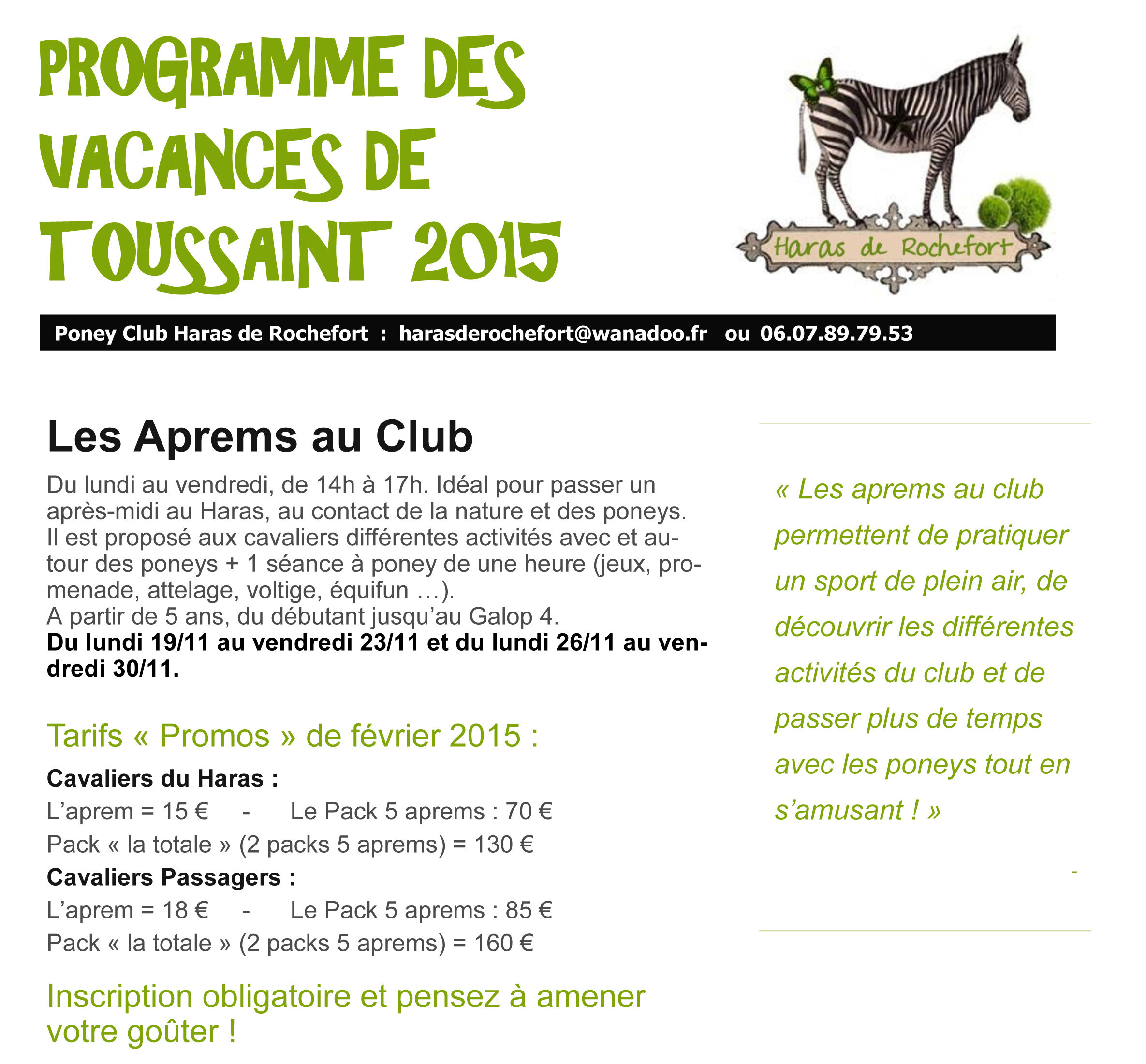 programme des vacances de toussaint 2015 haras de rochefort. Black Bedroom Furniture Sets. Home Design Ideas