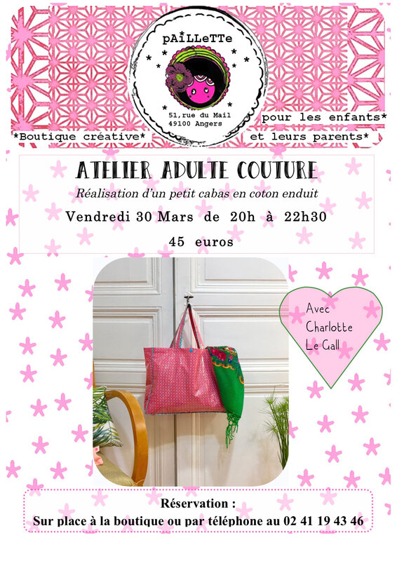 Affiche atelier couture adulte 30 mars 18