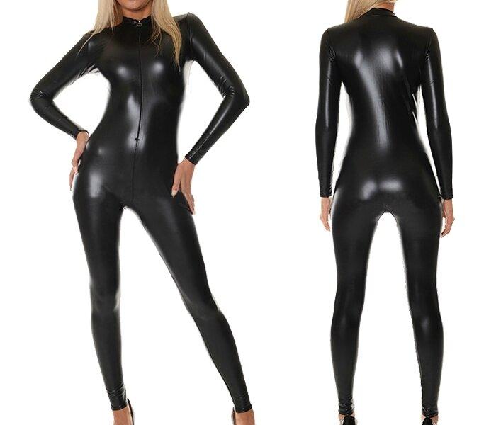 Combinaison spandex cuir liquide noir