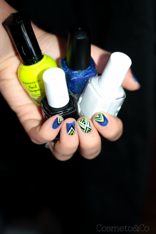 nail art colo by llarowe independance day graphique fluo triangle aztec-4
