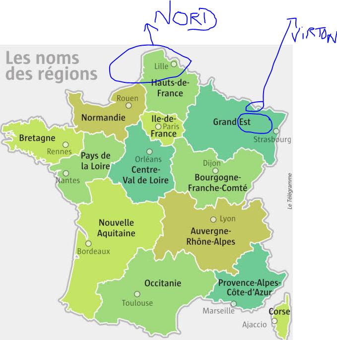 carte pour les français qui n'arrive pas encore à situer NORD et EST