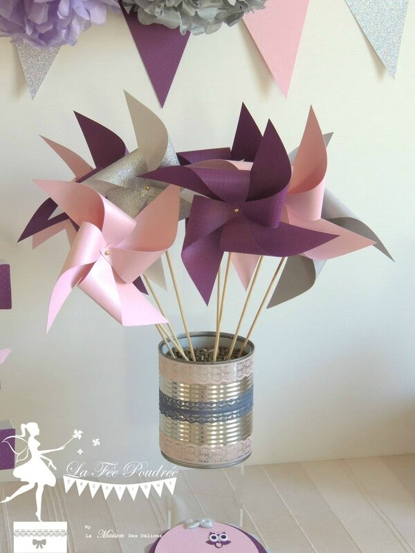 moulin a vent prune grise rose decoration bapteme baby shower anniversaire mariage