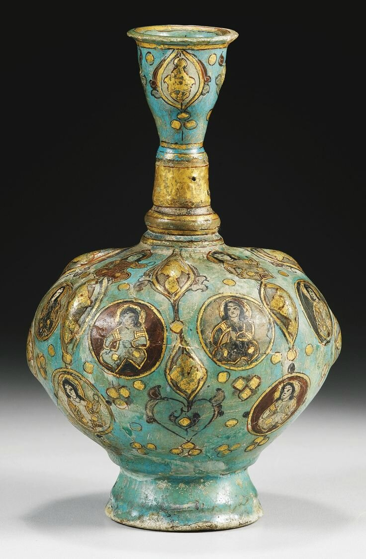 A Kashan minai pottery bottle vase, Persia, 13th century