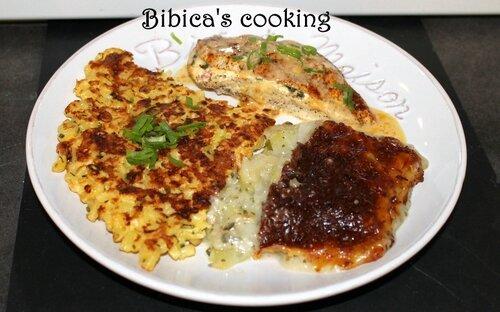 Filets de poulet farcis au basilic et Philadephia poivrons grill+®s - galette croustillante de p+ótes - gratin de chou-rave b+®chamel