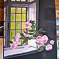 - huile sur toile - 60 x 80 - bouquet de roses -