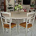 Table et chaises relookées