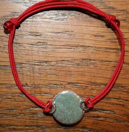 Bracelet coulissant émail Blanc-cordon Rouge RECTO