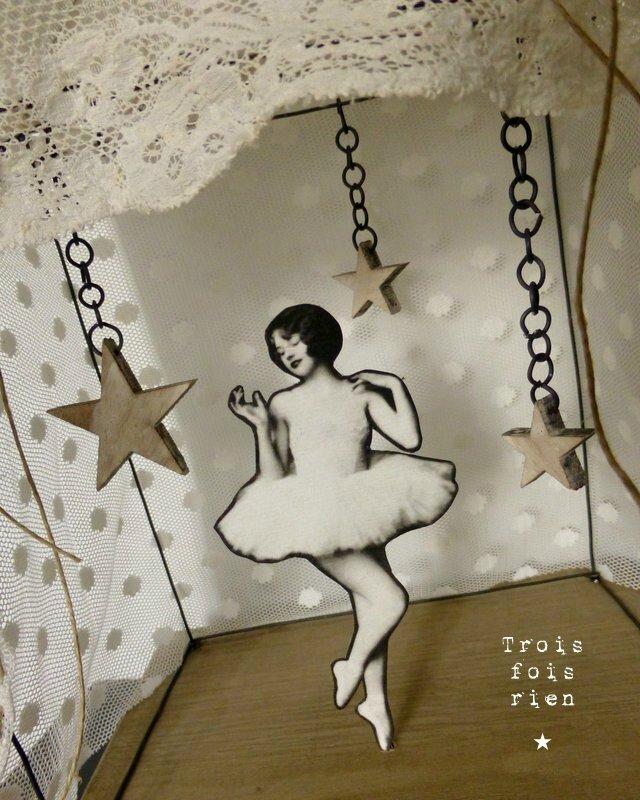 Théâtre fil de fer, danseuse, étoiles, insouciance, wire theatre 2