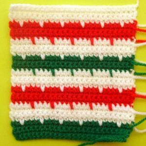 200 carrés crochet Rayures d'hiver
