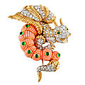 Cartier. Gold, Platinum, Diamond, Coral, & Emerald Dragon Pin. USA, 1960's