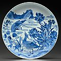 A blue and white deep dish, Early Kangxi period, circa 1665