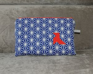 trousse de toilette origami bleu cocotte orange
