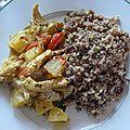 Wok de dinde à l'ananas et ses légumes secs