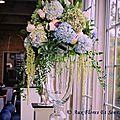 Décor de table Mariage Hortensia, Amaranthe, Rose, Ruscus