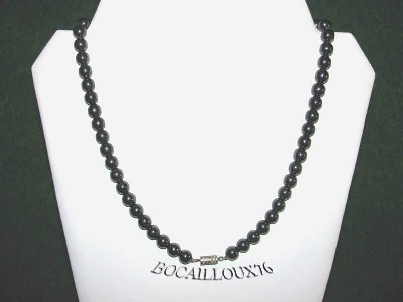 Collier HEMATITE 4 Perles 8,5mm (4)