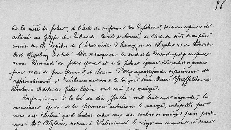 Mariage 1864 à Haussy entre Pierre Marc Queffellec et Constance COPIN_3