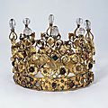 Crown. fribourg, switzerland, 1566. hans schmaltz. gilt-copper, twisted, embossed and engraved; rock crystal, imitation pearls