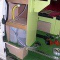 3ème aménagement - vue arrière meuble évier en construction - au fond lit à lattes