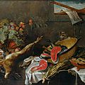 cole flamande du XVIIme sicle, atelier de Frans Snyders, Nature morte au gibier, fruits et poissons