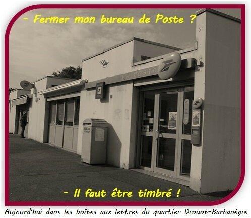 Quartier Drouot-Barbanègre - Carte postale PCF contre fermeture des bureaux de Poste