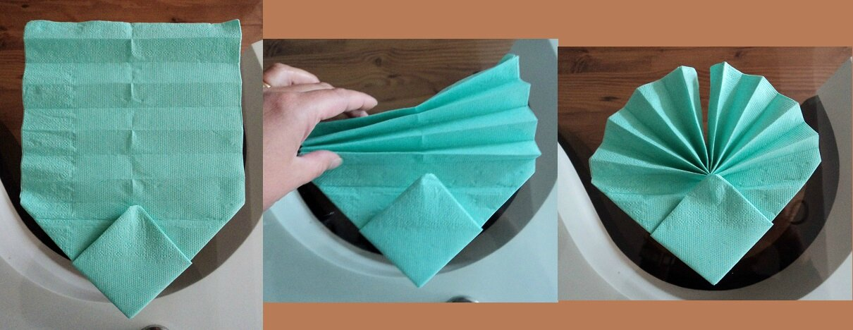 Pliage en images des serviettes coquille st jacques cuill re gourmande - Comment plier des serviettes de table en papier ...
