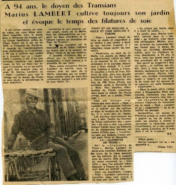 Marius Lambert-Article de journal