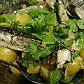Salade de la dèche, sardines à l'huile, patates et haricots plats