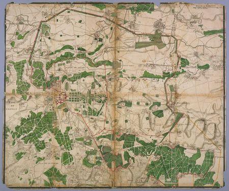 Plan des parcs de Marly, Versailles et des environs, XVIIe siècle