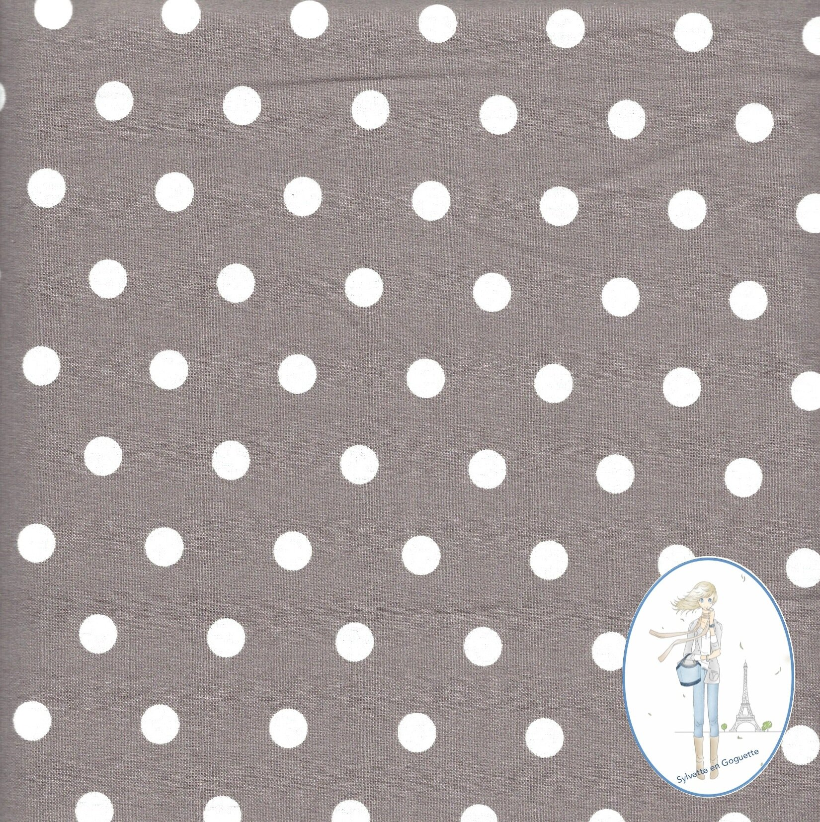 Couture coupon tissu gros pois blancs fond taupe 590 for Couture de tissus