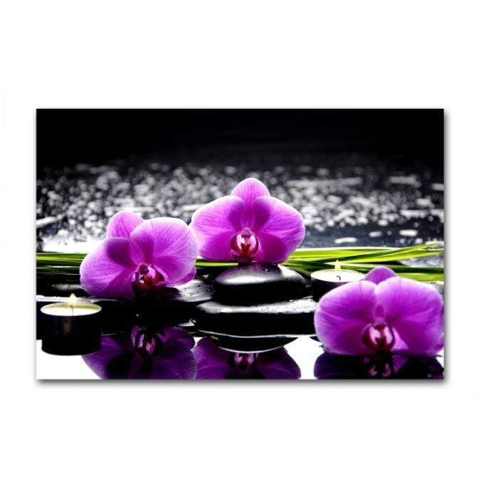 tableau-zen-orchidee-rose-et-bougies-sur-galets