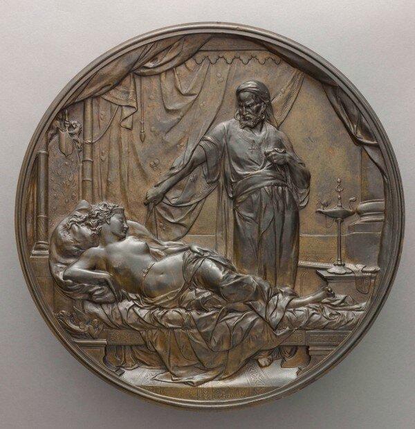 Émile Picault, Othello et Desdémone, 1878, Médaillon uni-face en bronze, D