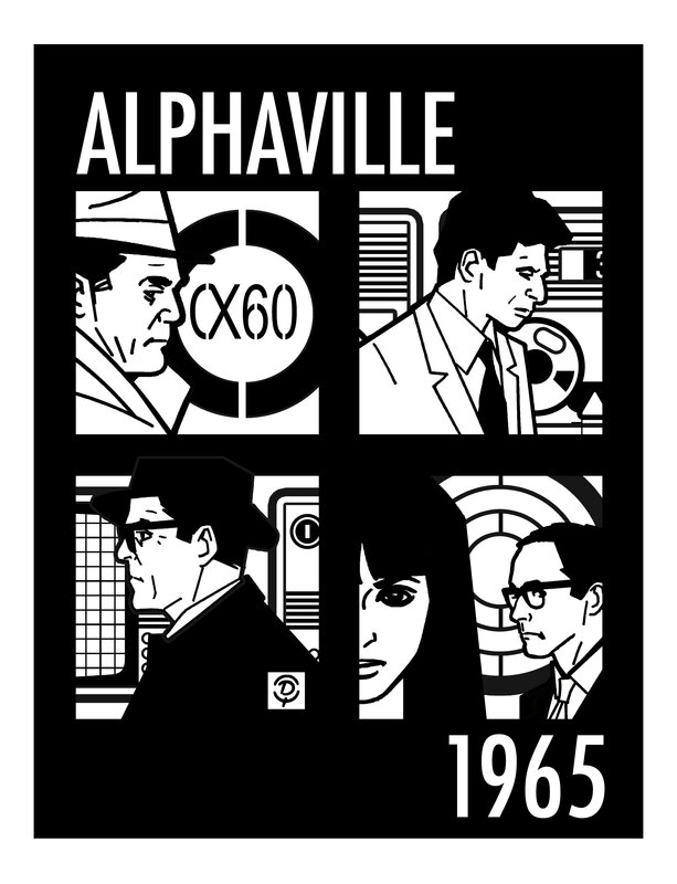 """""""Alphaville"""" une étrange aventure de Lemmy Caution Jean-Luc GODARD 1965 Planche originale au trait"""