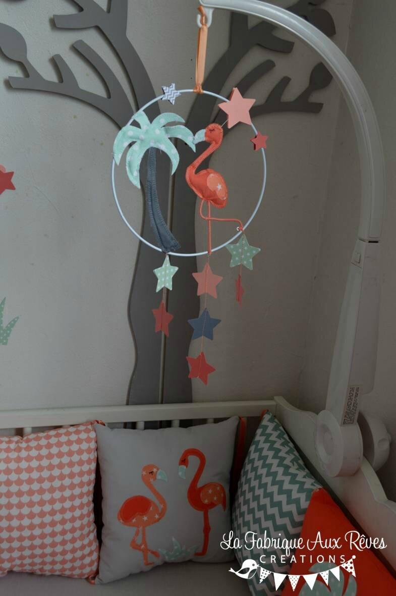 Décoration chambre bébé flamant rose palmier étoiles nuages mint ...