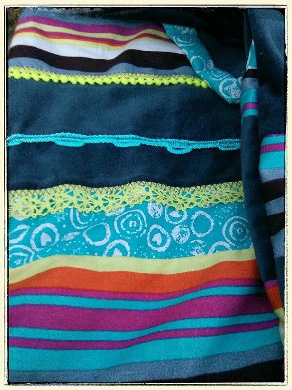Echarpe multicolore rayures - détail