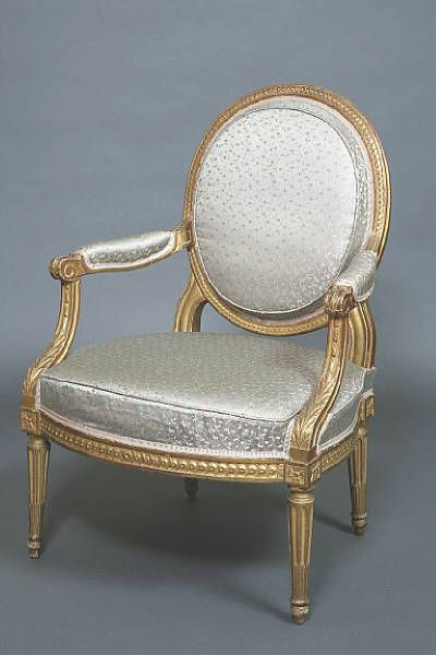 A French Louis Xvi 18th Century Giltwood Fauteuil 224 La