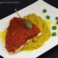 Filet de daurade en croûte de tomates aux épices et purée de fenouil au cucurma d'après andreas mavrommatis